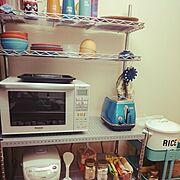 デロンギのトースター/オーブンレンジ/キッチン収納/RICEストッカー/トースター…などのインテリア実例