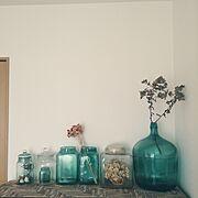 あじさいドライフラワー/古い瓶/RC愛知/ブログ細々とやってます♪/古いものが好き♡…などのインテリア実例