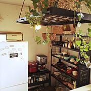 モノトーン/ハンドメイド/アイアン家具手作り/Kitchen…などのインテリア実例