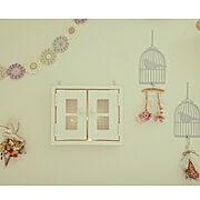 フック/鳥かご/お花ガーランド/korokkoroさんの作品/スワッグ/Tiffany.623ちゃんの作品…などのインテリア実例