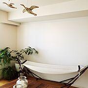 キャンドル/観葉植物/アウトドア/ハンモックでノンビリ♡/Lounge…などのインテリア実例