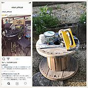 いいね!ありがとうございます◡̈♥︎/ニューアイテム♡/DIY/ケーブルドラム…などのインテリア実例