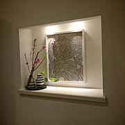 IKEA/ケーラー オマジオ/玄関のニッチ/ニッチ/ファブリックパネル風/マリメッコ…などのインテリア実例