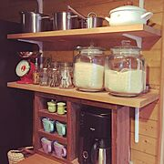 ワトコオイルダークウォルナット/DIY/キッチン収納/見せる収納/IKEA/野田琺瑯…などのインテリア実例