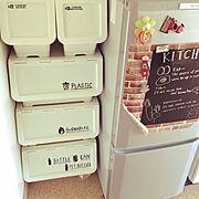 Kitchen/ゴミ箱/コンテスト用に再投稿/キャリコはごみ箱/カインズホームのキャリコ…などのインテリア実例