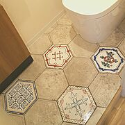 ヴィンテージ風/カナルストリート/名古屋モザイクタイル/タイル貼り/トイレの床…などのインテリア実例