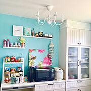 カラフル好き/キッチン 収納/整理整頓/キッチン背面/ウッドワン/食器棚…などのインテリア実例