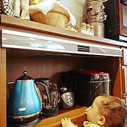 自動排気/住友林業クレストのカップボード/オーダー焼酎サーバー/タイガーミキサー/デロンギケトル…などのインテリア実例