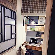 書斎/DIY/ペイント壁/狭い部屋/My Desk…などのインテリア実例