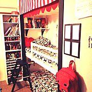 押入れ改造/子供部屋/こどもスペース/IKEA/2段ベッド/押入れDIY…などのインテリア実例