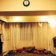 間接照明/IKEA/ワンルーム/一人暮らし/時計/Bedroom…などのインテリア実例