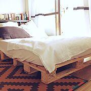 ベッド/ユーロパレット/DIY/Bedroom…などのインテリア実例