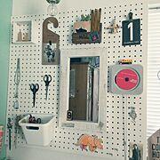 無印良品 壁掛けCD/100均/雑貨/halさん♡/狭小住宅/静岡県民…などのインテリア実例