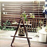 ウッドフェンス/ウッドデッキ/ブリキのアルファベット/chocolate-cafeさん作品/庭…などのインテリア実例