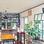 部屋全体/ターナーミルクペイント/ダイニングテーブルDIY/100円観葉植物/フェイクグリーン…などのインテリア実例