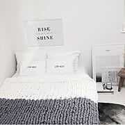 H&M HOME/北欧/chunky knit blanket/merino wool/グレー好き♡…などのインテリア実例