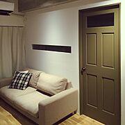リノベーション/室内窓/オリーブ色/無印良品/Lounge…などのインテリア実例