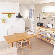 北欧ヴィンテージ食器/IKEA/バルミューダ/カウンター/ウォールシェルフ/タイル壁…などのインテリア実例
