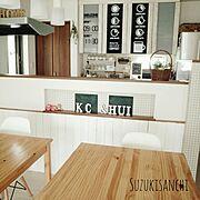 サンサンフー/カウンター下板壁DIY/壁紙屋本舗/カフェ風/ユーカリドライ/ワイヤープランツ…などのインテリア実例