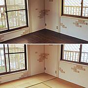 フロアマット/ブリックタイル/和室を洋室に /漆喰壁DIY/クッションフロア/レンガ…などのインテリア実例