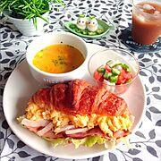 朝食/ワンプレート/おうちごはん/うずら卵/クロワッサン/サンドイッチ…などのインテリア実例