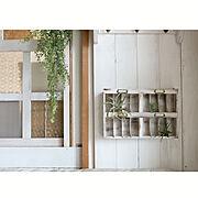 仕切り窓/フェイクグリーン/セリア/好きな場所/木工/板壁…などのインテリア実例