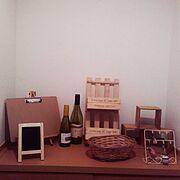 発展途上です(∩´∀`∩)/ディスプレイ/手作り/ワインボトル/DIY/ナチュラル…などのインテリア実例