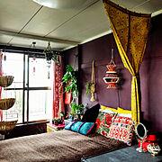和室を改造/寝室の窓辺/和室を洋室に /和室改造/壁を塗りました/和室をセルフリフォーム…などのインテリア実例