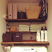 賃貸/つっぱり棒/収納/Bathroom…などのインテリア実例
