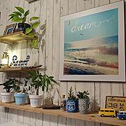 ステンシル/surf/キャンドゥ/観葉植物/WTW風/マグカップにGreen…などのインテリア実例