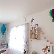水色大好き/ニトリ/ガーランド/子供部屋/飾り棚/カラフル…などのインテリア実例