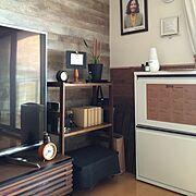 My Shelf/イメチェン計画中/DIY/雑貨/かべがみや本舗/3Coins…などのインテリア実例
