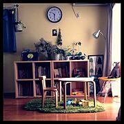 椅子/くま/絵本/時計/グリーン/ライト…などのインテリア実例
