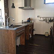 ステンレス天板/造作キッチン/キッチン/Kitchen…などのインテリア実例