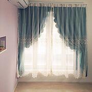 スカラップ/ガーリー/カーテン 手作り/ハンドメイド/トルコカーテン/カーテン…などのインテリア実例