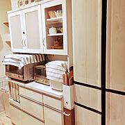 ナチュラル/100均/セリア/ダイソー/冷蔵庫リメイク/ホームベーカリー…などのインテリア実例