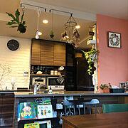 キッチン背面棚DIY/カウンター下収納DIY/飾り棚 DIY/壁紙DIY/南部鉄器…などのインテリア実例