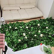 100均/ハンドメイド/薔薇/ガーランド/造花/グリーンフェンス…などのインテリア実例