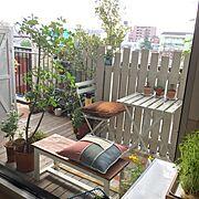 DIYベンチ/DIYウッドデッキ/DIYウッドフェンス/DIY/IKEA/ベランダガーデン…などのインテリア実例
