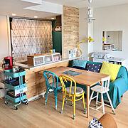 珪藻土/IKEAのシャワーカーテン/ニトリ/IKEA/ケユカ/ケユカのダイニングテーブル…などのインテリア実例