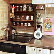 ナチュラルキッチン/salut!/賃貸/団地/団地のキッチン/調味料は基本全部並べてます。…などのインテリア実例