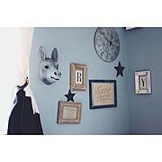 セルフペイント/男の子部屋/ブルーグレーの壁/子供部屋/オルネドフォイユ/ミッキーサイン…などのインテリア実例