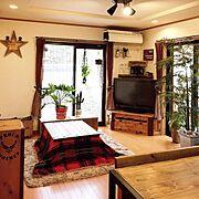 DIYテーブル/男前/木工/双子/リンゴ箱/DIYコタツ…などのインテリア実例