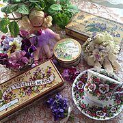かわいい♡/いいね、フォロー本当に感謝です♡/花のある暮らし/すみれ/石けんの箱…などのインテリア実例