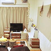 DIY/かご収納/ぴよちゃん/ティッシュカバー/造花/めかくしカーテン…などのインテリア実例