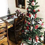 ダイニング/スルーしてね/ニトリクリスマスツリー/クリスマスディスプレイ/いつもありがとうございます…などのインテリア実例
