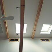 スポットライト/天窓/造作窓/シーリングファン/勾配天井+ロフト…などのインテリア実例