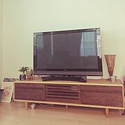 観葉植物/100均/雑貨/テレビボード/テレビ/テレビ周り…などのインテリア実例