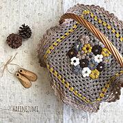 おうち/モリーの花/かごカバー/ほっこり/モコモコ/かぎ針編み…などのインテリア実例