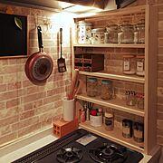 DIY棚/100均アイテム/セリア/かべがみや本舗さん/カインズの木材/ニトリ…などのインテリア実例